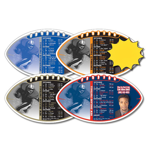 "Customized Magnet Sport Schedule - Football Shape 7"" x 4"" - 25 mil"