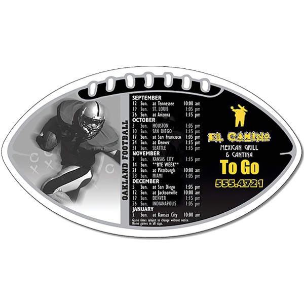 "Personalized Magnet Sport Schedule - Football Shape 7"" x 4"" - 30 mil"