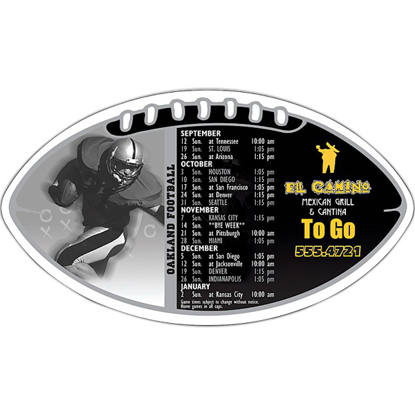 "Printed Magnet Sport Schedule - Football Shape 7"" x 4"" -Outdoor Safe"
