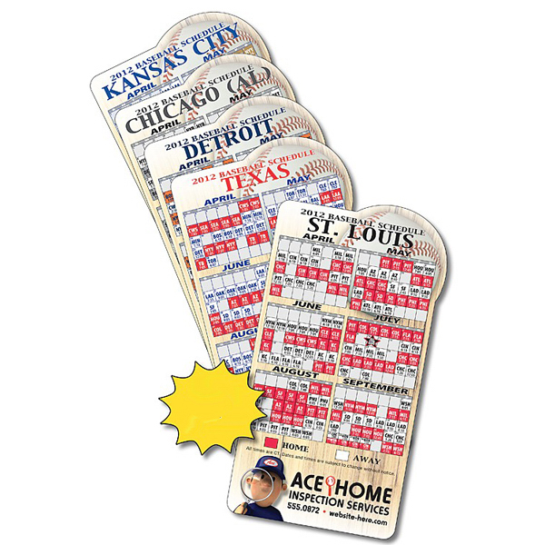 Promotional Magnet Sport Schedules - Baseball Shape 3.875x7.25 - 30 mil