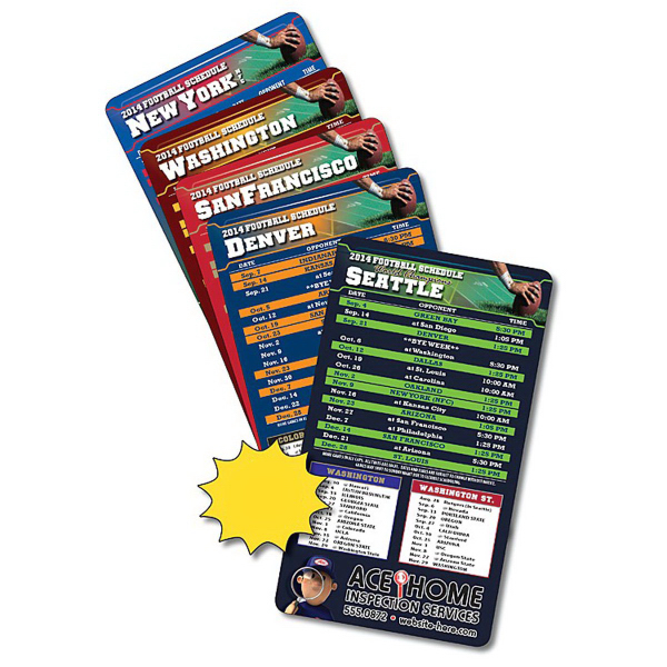 "Imprinted Magnet Sport Schedules 4"" x 7"" Football Round Corners 30 Mil"
