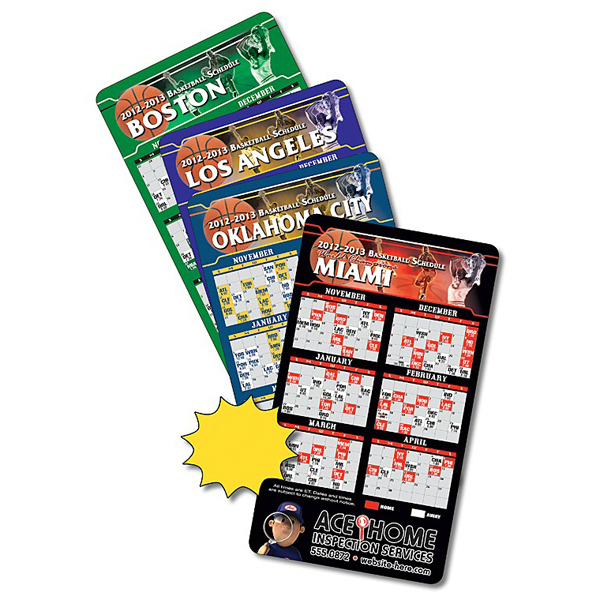 Promotional Magnet Sport Schedules - 4x7 Basketball Round Corners-20 Mil