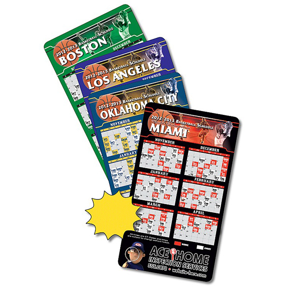 "Promotional 4"" x 7"" Basketball Round Corners Sport Schedules"