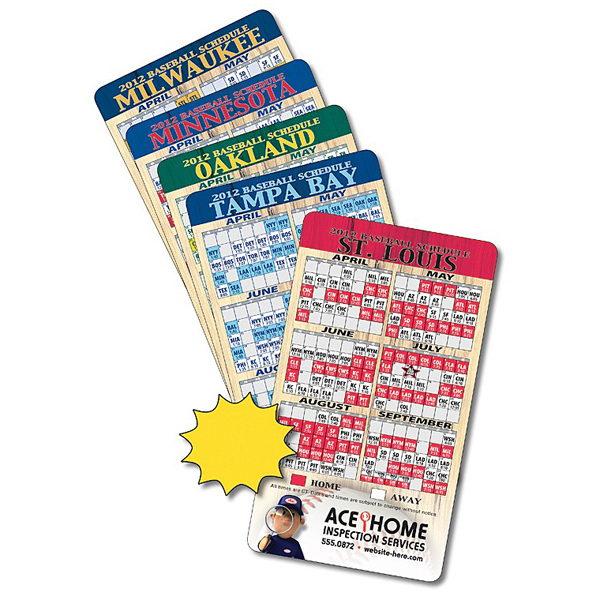 "Custom Magnet Sport Schedules 4"" x 7"" Baseball Round Corners 20 Mil"
