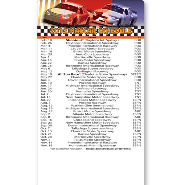 "Personalized Magnet Sport Schedules 4"" x 7"" Nascar Round Corners 20 Mil"