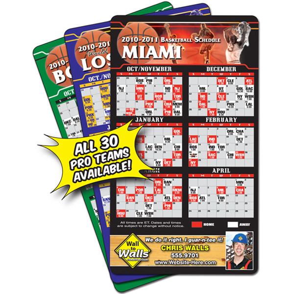 "Imprinted 4"" x 7"" Basketball Round Corners Sport Schedules"