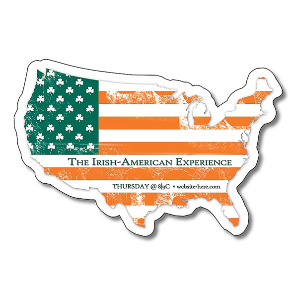 "Custom 3 1/2"" x 2 11/32"" United States Shape Magnet"