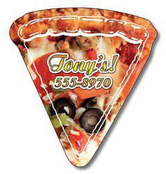 "Imprinted Magnet, Pizza slice shape, 2.44"" x 2.63"", 20 mil"