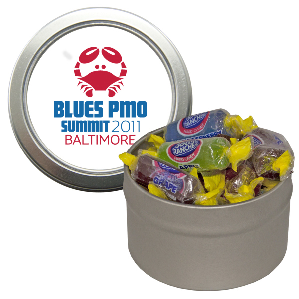 Custom Silver Candy Window Tin with Jolly Ranchers