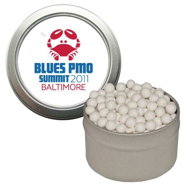 Printed Silver Candy Window Tin with Signature Peppermints