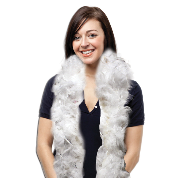 Printed White Adult Size Feather Boa