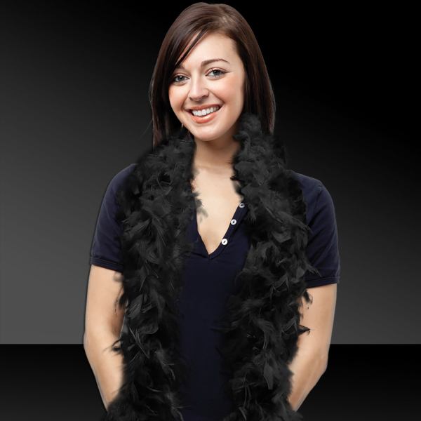 Printed Black Adult Size Feather Boa