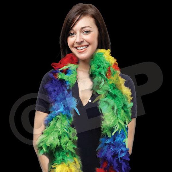 Imprinted Multi Color Adult Size Feather Boa