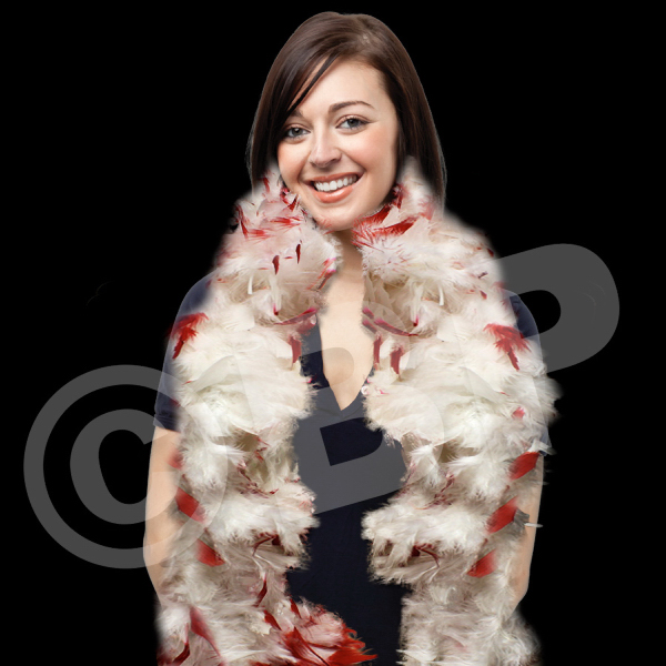 Customized White & Red Adult Size Feather Boa