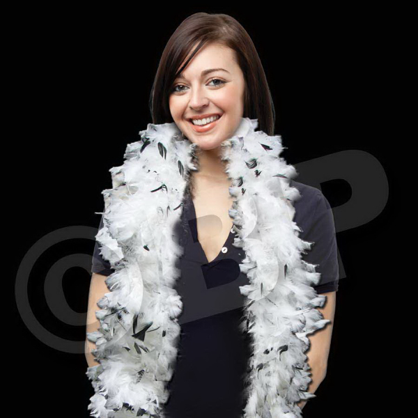 Printed White & Black Adult Size Feather Boa