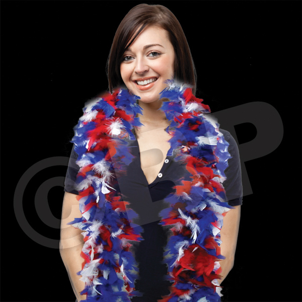 Personalized Red, White & Blue Adult Size Feather Boa