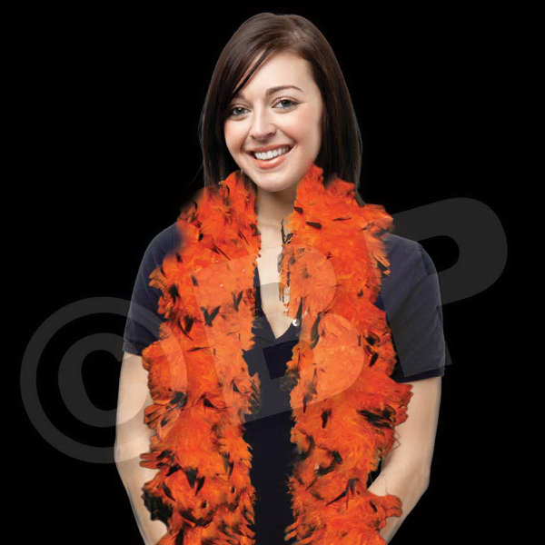 Imprinted Orange & Black Adult Size Feather Boa