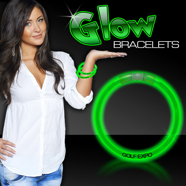 "Customized Green 8"" Single Color Superior Glow Bracelet"