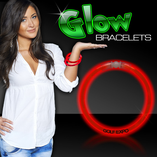 "Promotional Red 8"" Single Color Superior Glow Bracelet"