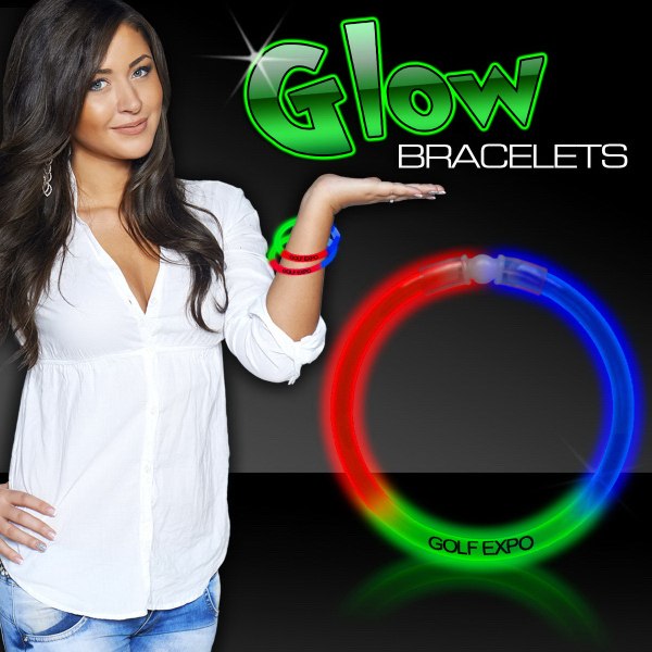 """Personalized Red Green & Blue 8"""" Triple Color Superior Glow Bracelet"""