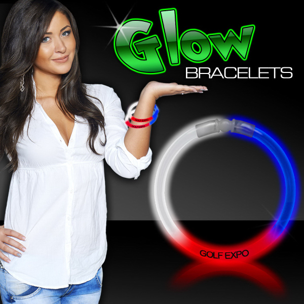 """Customized Red White & Blue 8"""" Triple Color Superior Glow Bracelet"""