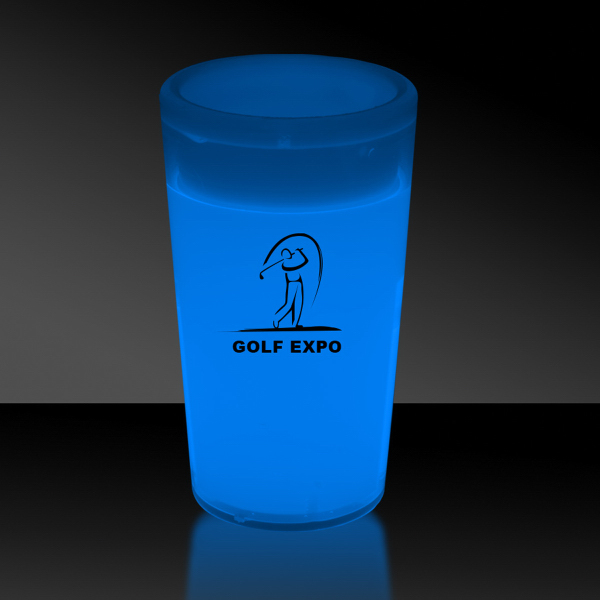 Promotional Blue 2 oz. Tapered Style Glow Shot Glass