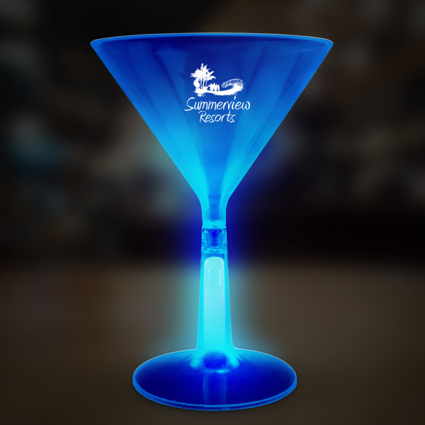 Promotional Blue 8 1/2 oz. Martini Glass with Glow Base