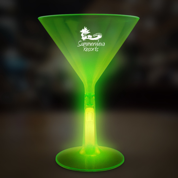 Promotional Green 8 1/2 oz. Martini Glass with Glow Base