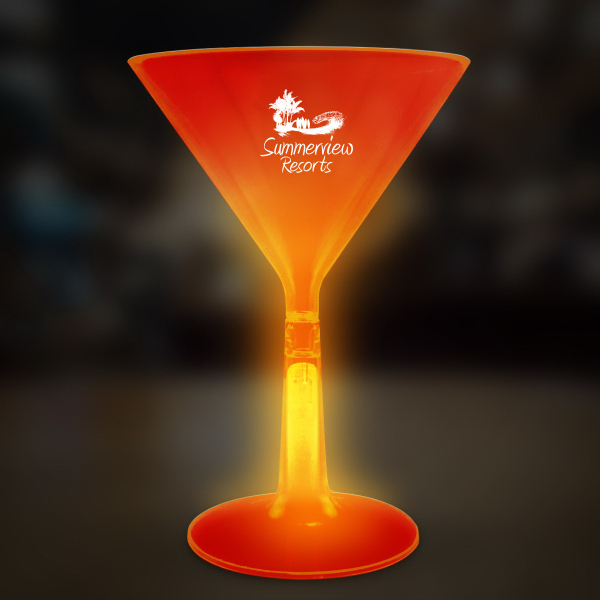 Custom Orange 8 1/2 oz. Martini Glass with Glow Base