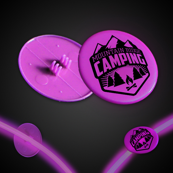 "Imprinted Pink 1 1/2"" Clip On Medallion"