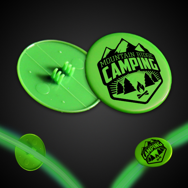 "Promotional Green 1 1/2"" Clip On Medallion"