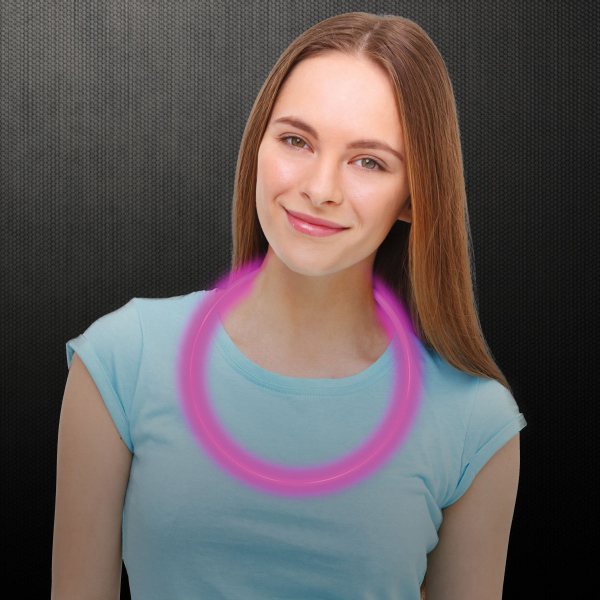 "Promotional Pink 22"" Superior Single Color Glow Necklace"
