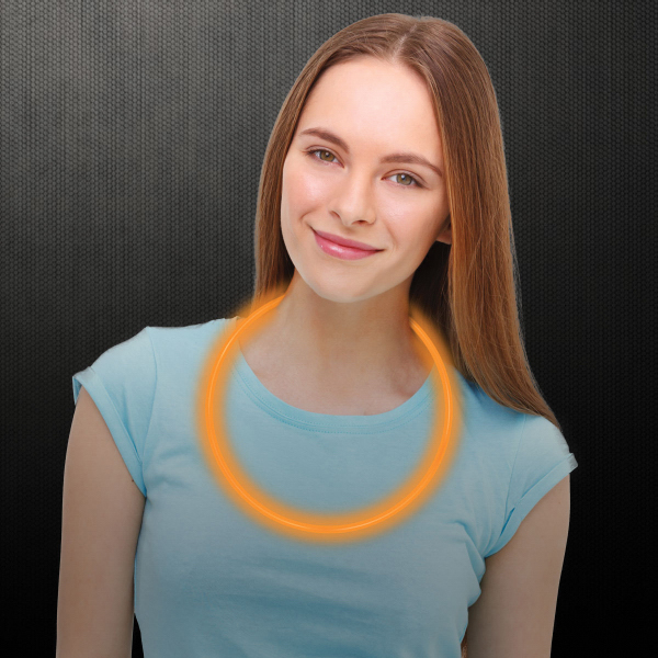 "Imprinted Orange 22"" Superior Single Color Glow Necklace"