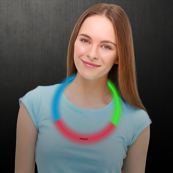 "Imprinted Red Green & Blue 22"" Superior Triple Color Glow Necklace"