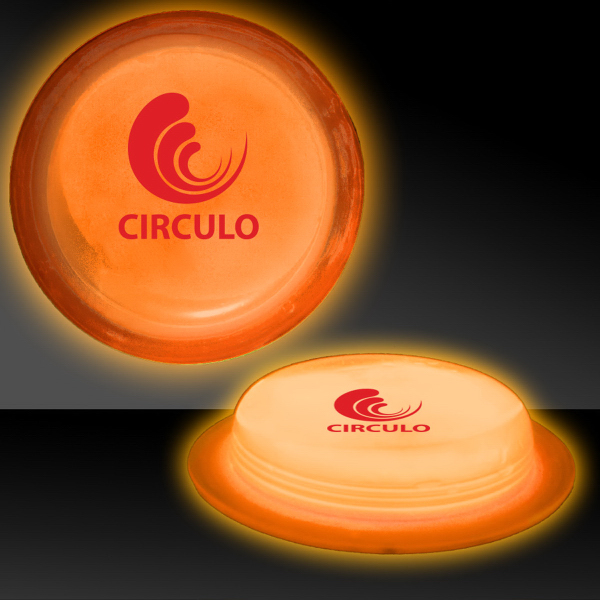 "Custom Orange 3"" Self-Adhering Circle Shaped Glow Badge"