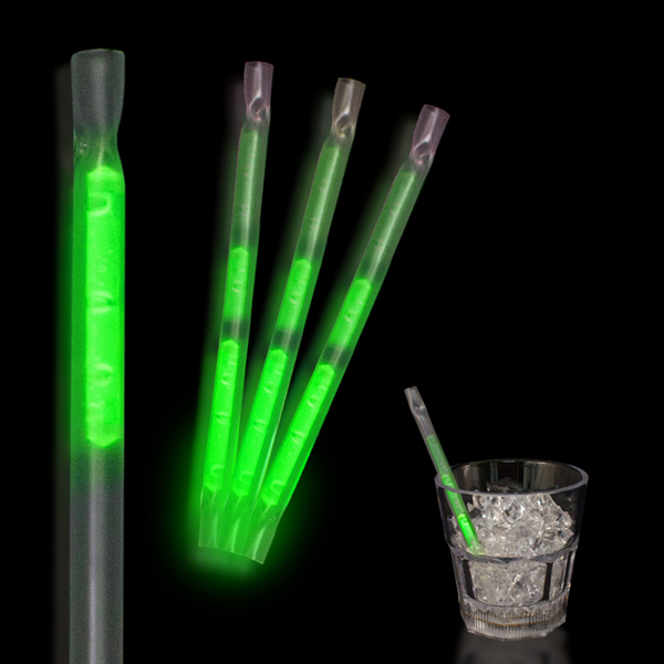 "Customized Green 5"" Glow Motion Straw"