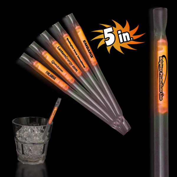 "Customized Orange 5"" Glow Motion Straw"