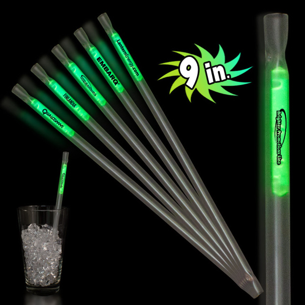 "Customized Green 9"" Glow Motion Straw"