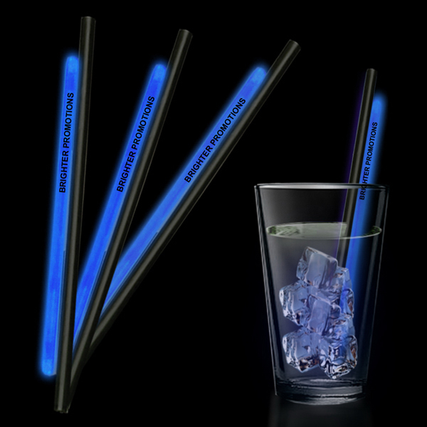"Custom Blue 9"" Glow Straw"