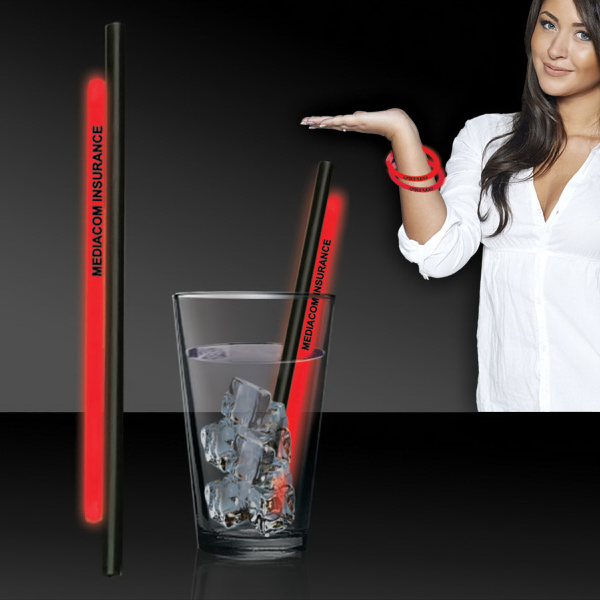 "Personalized Red 9"" Glow Straw"