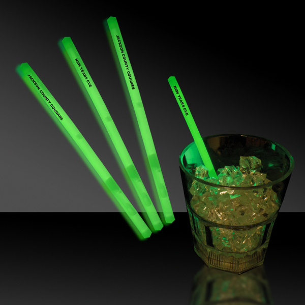 "Imprinted Green 5"" Single Color Glow Swizzle Stick"