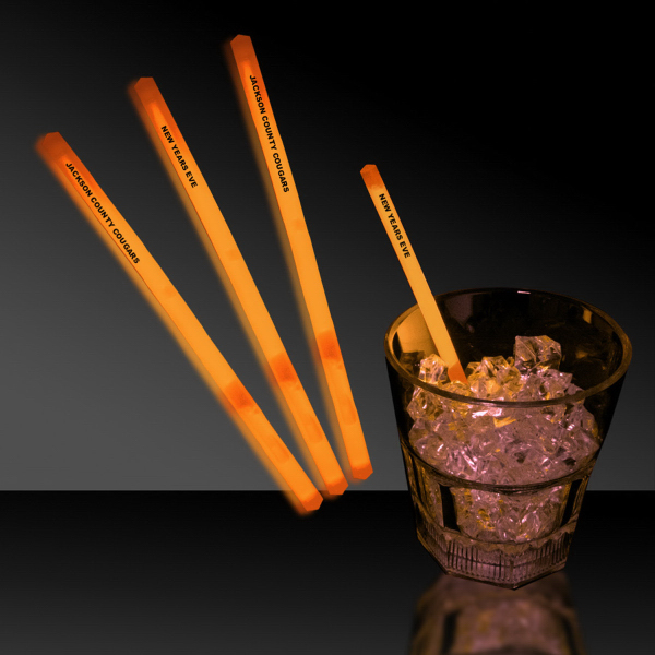 "Printed Orange 5"" Single Color Glow Swizzle Stick"