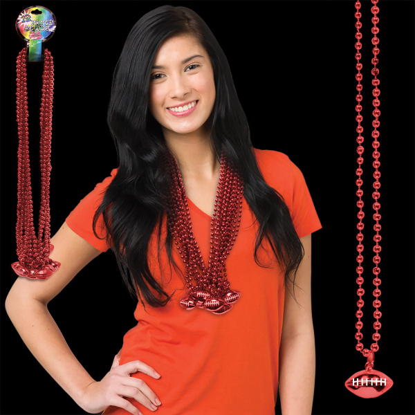 Custom Red Beaded Necklace with Football Pendant