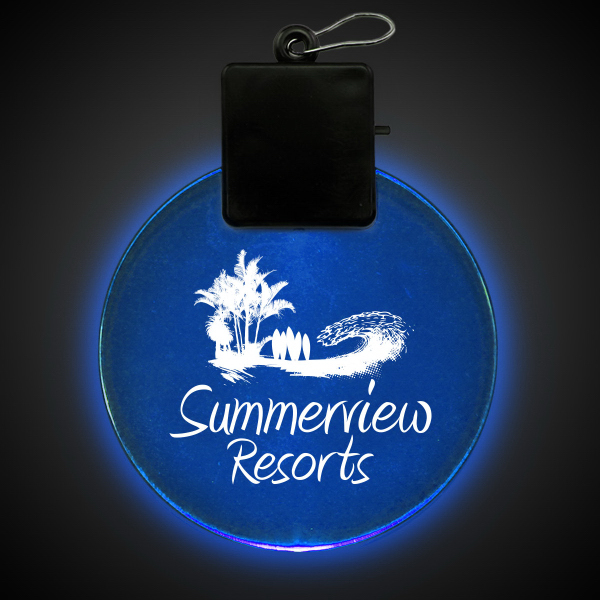 "Promotional Blue 2 1/2"" Light-Up Glow Medallion"