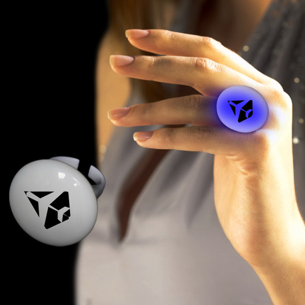 Imprinted Blue LED Button Ring