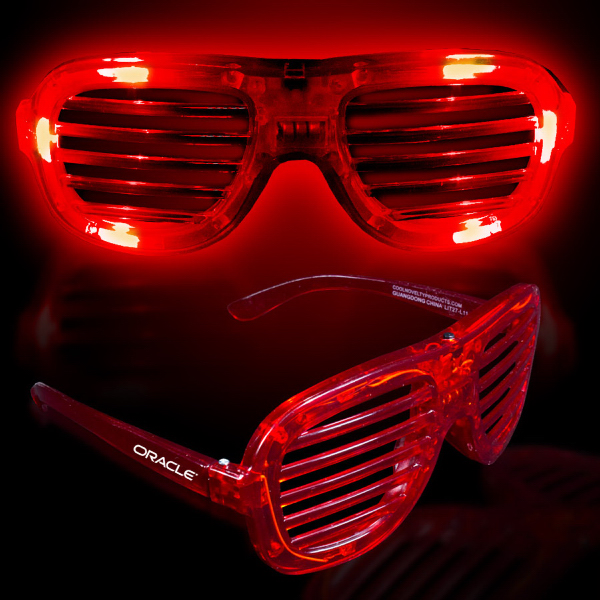 Custom Red Light-Up LED Slotted Glasses