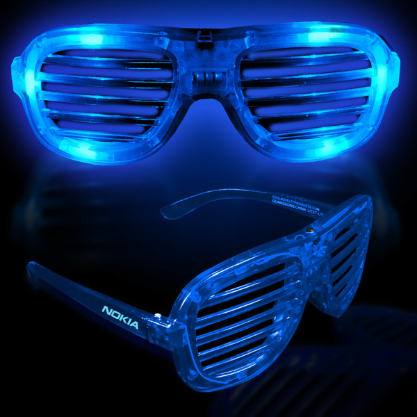 Custom Blue Light-Up LED Slotted Glasses