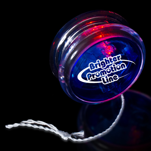 "Customized Blue & Clear 2 3/8"" Light Up Red LED Yo-Yo"