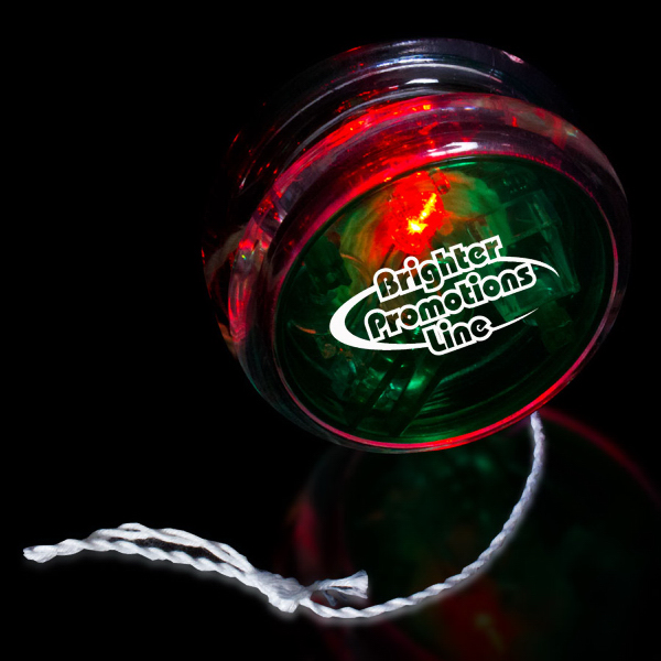 "Printed Green & Clear 2 3/8"" Light Up Red LED Yo-Yo"