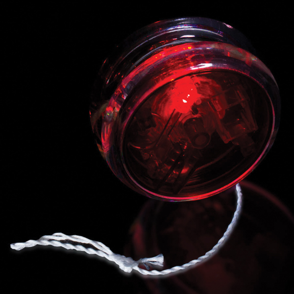 "Personalized Red & Clear 2 3/8"" Light Up Red LED Yo-Yo"